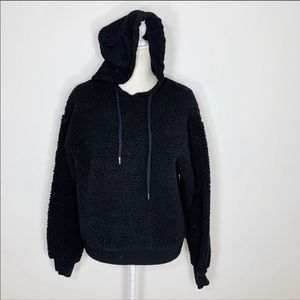 MODERN CITIZEN black teddy fleece hood sweatshirt